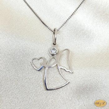 Zlatarna A&L   Privjesak   srebro   anđel srce